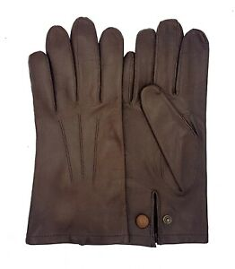 Men's Officers Unlined Leather Gloves - New - Black & Brown
