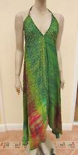 Womens Green Mix Embroidered Silk Handmade Halter Neck Sundress - One Size Reg