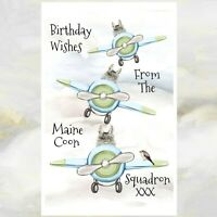 Maine Coon Cats Greetings Card, Maine Coon Cat, Maine Coon Cats Birthday Card.