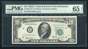 FR 2017-E* 1963-A $10 *STAR* FEDERAL RESERVE NOTE RICHMOND, VA PMG GEM UNC-65EPQ
