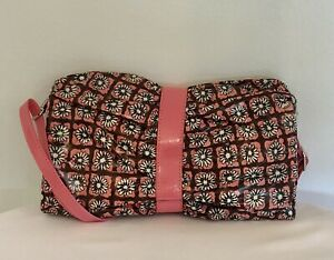 VERA BRADLEY Frill Pink Brown Crossbody Handbag Floral Daisy Vinyl Purse RARE!