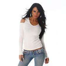 Sexy Shirt Pulli Pullover Schulterfrei  Cut outs Feinripp Shirt Weiß Größe 40