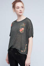 NWT Anthropologie Embroidered Petal Tee, by Akemi + Kin - Green, size S