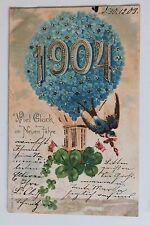 26514 Litho AK Neujahr 1904 Jahreszahl im Blumen Ballon 1903