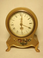 New listing Vtg Paladin Jewels Musical Wind Up Floral Plastic Shelf Clock *As-Is, For Parts