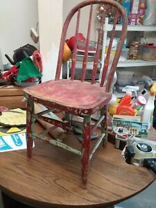 Antique Vintage Bent Wood Plank Bottom Childs Chair multi-Color RARE find