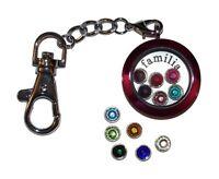 Familia Family Birthstone Locket Keychain Kit - Floating Glass Charm Jewelry USA