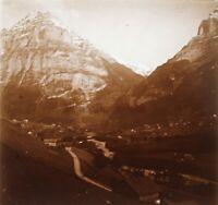 Montagne Francia Suisse Foto Stereo PL59L1n44 Placca Da Lente Vintage c1910