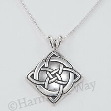 """CELTIC GOOD LUCK symbol charm Knot Pendant 925 Sterling Silver 18"""" Necklace"""