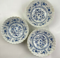 """(3) Classic J&G Meakin England Blue Nordic Ironstone 6.5"""" Soup Bowl Plate lot"""