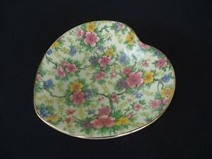 vintage empire ware chintz heart chaped dish bowl  floral england maytime