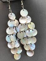 Drop Dangle Gem Quality Natural Mother Of Pearl  Pierced Earrings Bohemian Wow