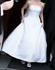 David's Bridal/Michaelangela White Strapless Long Wedding Dress - Size 4
