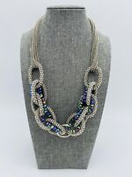 Vintage Multi Strand Silver Tone Iridescent Faceted Beaded Statement Necklace