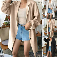 ZANZEA Women Long Sleeve Cotton Cardigan Coat Ladies Casual Tuinic Suit Jacket