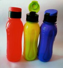 SET OF 3 WATER BOTTLES BRIGHT COLOURS FLIP TOP FOR TRAVEL & OFFICE USE