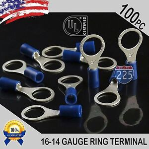 """100 PACK 16-14 Gauge 3/8"""" Stud Insulated Vinyl Ring Terminals Tin Copper Core US"""