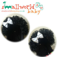 Black Voile And White Bling Bow Pram Hood Trim Accessory (NEXT DAY DISPATCH)