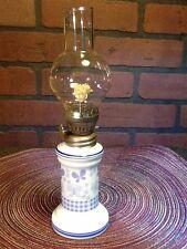 """Porcelain - Glass Kerosene Oil Lamp - 9 1/4"""" - Butterflies Small Vintage"""