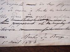 1884 manuscrit original par Barbié du Boccage celebre géographe homme politique