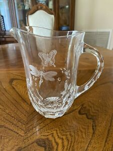 Varga Springtime Crystal Butterfly Dragonfly SIGNED Water Pitcher PLEASE READ