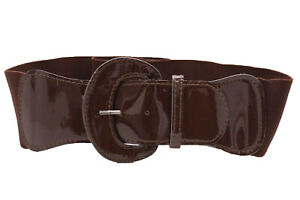 Belt Fashion Women Wide Chocolate Brown Faux Leather Elastic Band Size XS S M