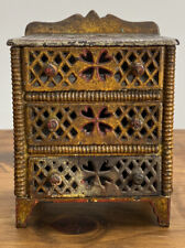 Antique 1880s Cast Iron Miniature Dresser Chest Of Drawers Dollhouse