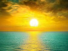 PHOTO COMPOSITION SUNSET OCEAN SEA BRIGHT YELLOW CLOUDS POSTER PRINT BMP10616
