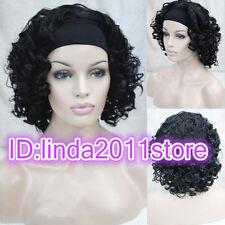 2017 Ladies girl Cute black Curly wavy 3/4 wig with headband half wigs + wig cap