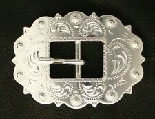 Western Equestrian Cowboy Tack Cart Buckle Bright Silver Plated 1""