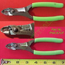 """New Snap On Rare Green Talon Soft Grip Wire Striper Crimper / Cutter 7"""" PWCS7CF"""