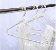 5pc Plastic Pearl Bow Clothes Hangers White fashion new For Adult