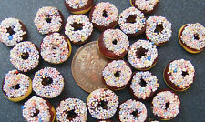 1:12 Scale 7 Chocolate Doughnuts With Sprinkles Dolls House Bakery Food pl109