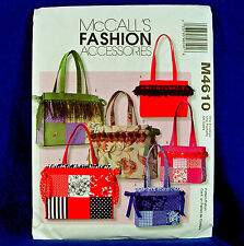 McCall's 4610 Lined Tote Bags Sewing Pattern 6 Designs Cute! new and uncut