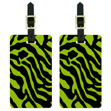 Zebra Print Lime Green Luggage Suitcase Carry-On ID Tags Set of 2