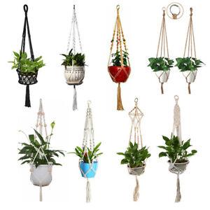 Indoor Macrame Plant Hanger Basket Cotton Rope Pots Holder Hanging Garden Decor