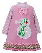 NEW Bonnie Jean Girls Fleece Pink Snowman Jumper Christmas Holiday  Set 2T 3T 4T