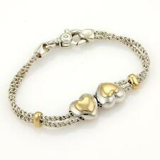 Tiffany & Co. 18k YGold & 925 Silver Double Heart Charm Rope Chain Bracelet