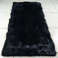 LUXURY REAL Black Rabbit FUR THROW BLANKET RUG Skin Fur Rug Pelz Leather Pelt