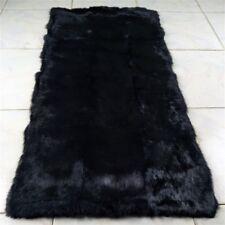 LUXURY REAL Black Rabbit FUR THROW BLANKET RUG Skin Fur Rug Pelz Leather Pelt