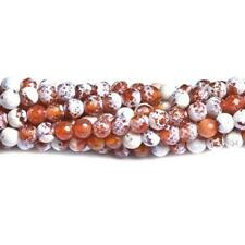 Fire Agate Faceted Round Beads 8mm Red/White 45+ Pcs Gemstones Jewellery Making