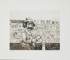 Charles Bragg - The Archaeologist, hand-signed etching