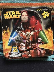 Star Wars Darth Vader Shaped Puzzle 2 Sided 500 Pieces In Tin 22x22 Sealed-9148