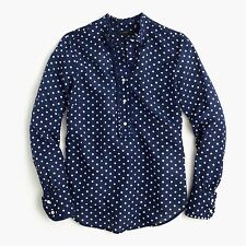 NEW J.Crew Ruffled popover shirt in polka dot navy Size 10 F4581