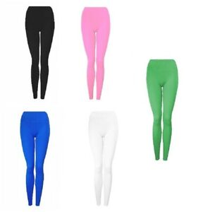 Girls Leggings Full Length Plain Soft Rich Cotton Stretchy Dance Casual Pants