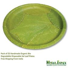 Pack of 25 Handmade Organic Bio Degradable Disposable Sal Leaf Party Plates