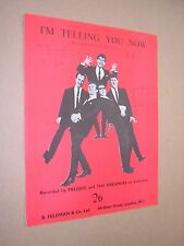 I'M TELLING YOU NOW. FREDDIE & DREAMERS. 1963 ORIGINAL VINTAGE SHEET MUSIC SCORE