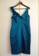 COAST TEAL STRETCHY SATEEN WIGGLE PARTY EVENING DRESS SIZE 14 BNWT RRP £135