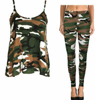 WOMEN LADIES CAMISOLE CAMOUFLAGE LEGGINGS VEST TOP AND BOTTOM FULL SET TRACKSUIT