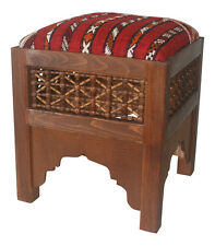 Ottoman Footstool Handamde Moroccan Square Footstool Carpet Kilim Seat Browm New
